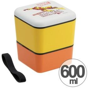 お弁当箱 シンプルランチボックス スクエア 2段 600ml アイアンマン ( 弁当箱 ランチボックス ランチベルト付き )