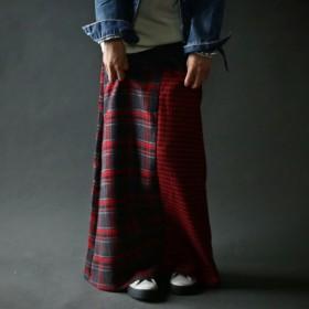 存在感を。2wayチェック切り替えリブロングスカート##・再再販。メール便不可