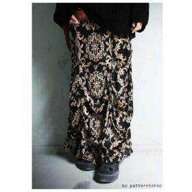 ドレープの魔法をかけて。アンティーク柄ロングスカート・再再販。タック ##「G」メール便不可