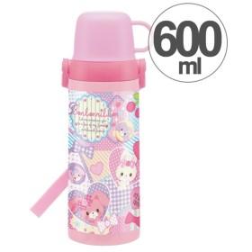子供用水筒 ぼんぼんりぼん パッチワーク 2ウェイ 直飲み&コップ付 ステンレス製 600ml ( 軽量 ステンレスボトル 保冷 保温 )