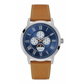 09cf82d81c W0870G4 GUESS ゲス ブルー 青文字盤 アナログ クオーツ 革バンド メンズ 腕時計 国内正規品