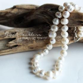アクセサリー 真珠 ネックレス 大粒 淡水パールdesignネックレス・再再販。「G」(10)メール便可