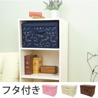 収納ボックス 幅38×奥行25×高さ25cm カラーボックス インナーボックス 折りたたみ フタ付き ( 収納ケース 収納 おもちゃ入れ おもちゃ箱 猫 ねこ )
