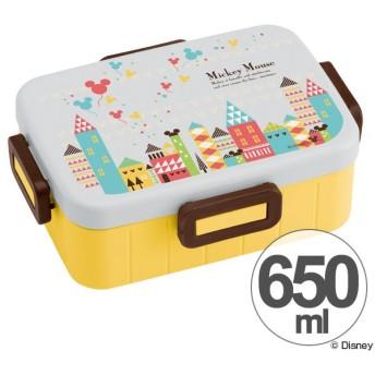 お弁当箱 ミッキーマウス ミッキータウン 4点ロックランチボックス 1段 650ml キャラクター ( 食洗機対応 弁当箱 4点ロック式 )