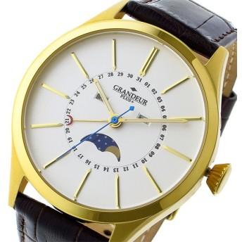 グランドール GRANDEUR プラス PLUS クオーツ メンズ 腕時計 GRP011G1 ホワイト/ゴールド