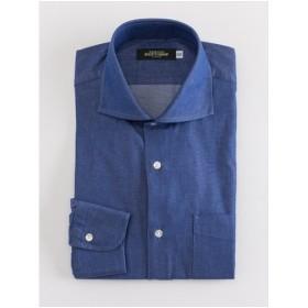 デニムライク ホリゾンタルシャツ(ブルー)【TEIJIN MEN'S SHOP】