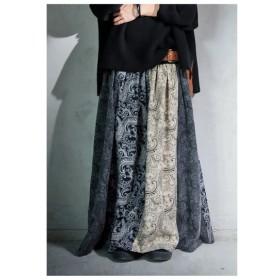 なんだかレトロな風合い感じる、ペイズリー柄切替ロングスカート・再再販。柄 ##「G」メール便不可