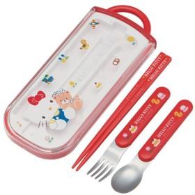 トリオセット 箸・フォーク・スプーン ハローキティ 80's スライド式 キャラクター ( 食洗機対応 子供用お箸 カトラリー )