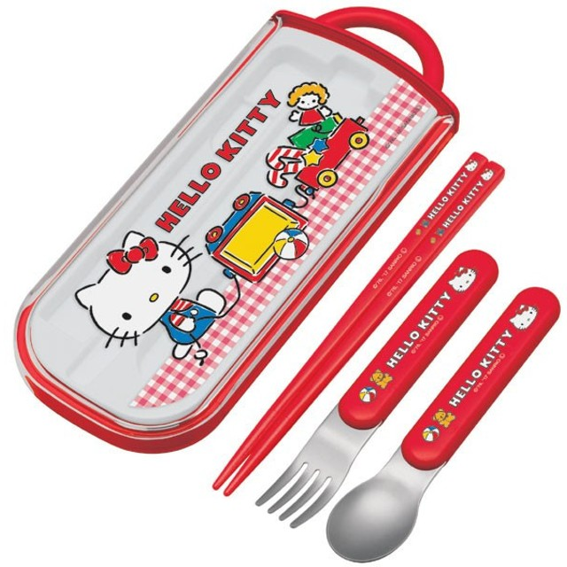 トリオセット 箸・フォーク・スプーン ハローキティ ギンガムチェック スライド式 キャラクター ( 食洗機対応 子供用お箸 カトラリー )