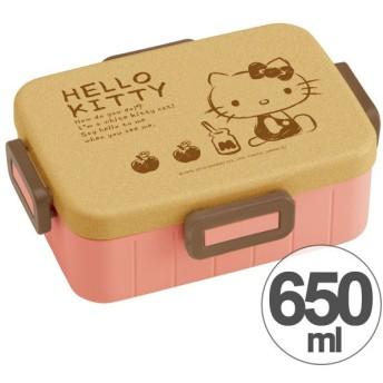 お弁当箱 ハローキティ 70年代 ウッド風 4点ロックランチボックス 1段 650ml キャラクター ( 食洗機対応 弁当箱 4点ロック式 )