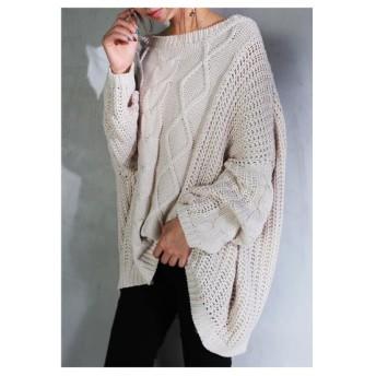 ゆる編みに包まれる。オフショルニット・再再販。畦編み ケーブル ##「G」メール便不可