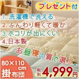 [プレゼント付き]お昼寝布団 掛け布団 日本製 80×110cm 洗濯機で洗える 清潔 保育園 洗える中綿 ダクロン(R) 中わた