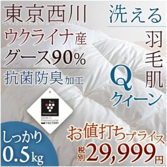 肌掛け布団 クィーン 東京西川 西川産業 ウクライナ産グースダウン90% 羽毛布団 夏 掛け布団