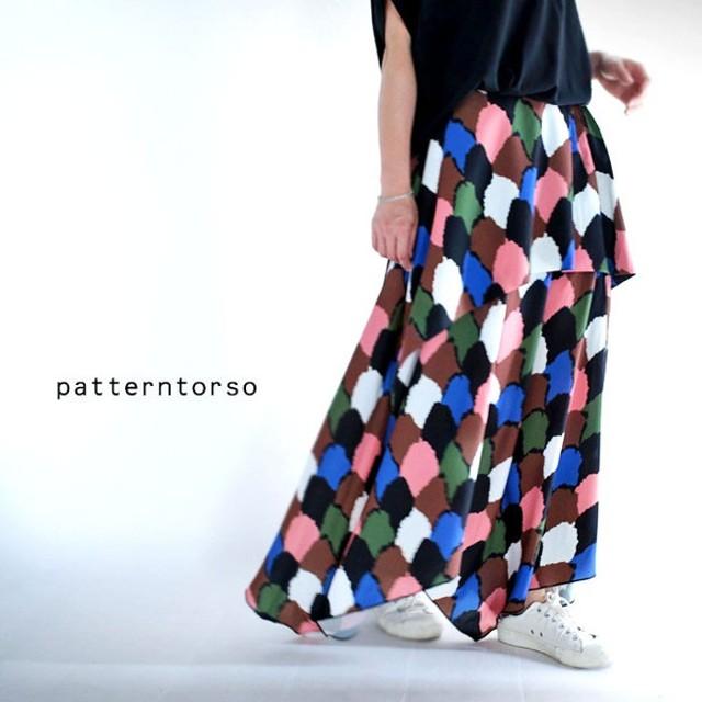 トリコになる柄style。ヴィンテージマルチカラーロングスカート・再再販。総柄 ##「G」メール便不可