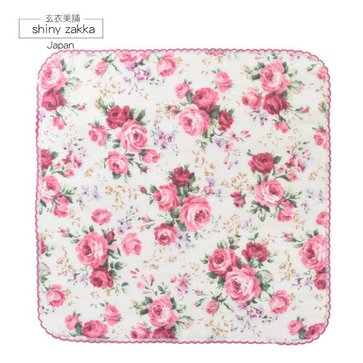 日本毛巾-經典玫瑰刺繡小方巾-白-玄衣美舖