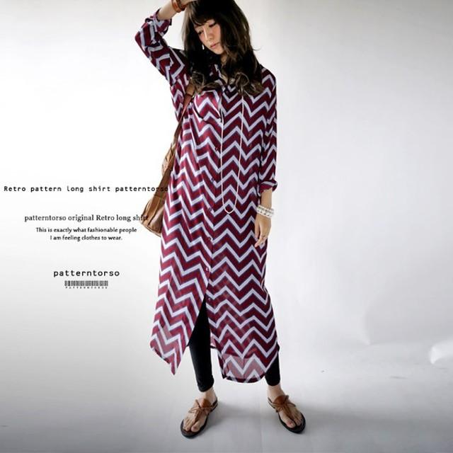 デザイナーも絶賛、納得の仕上がり。レトロ柄ロングシャツ##・再再販。メール便不可