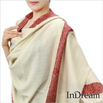 パシュミナ刺繍ショール [100cm巾] ホワイト
