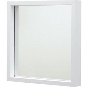 ミラーL 正方形 (大) 飛散防止フィルム加工 (インテリア家具) MU-034WH ホワイト(白)