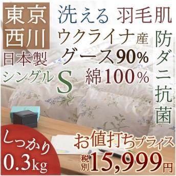 肌掛け布団 シングル 東京西川 西川産業 ウクライナ産グースダウン90% 夏 洗える 綿100% 肌布団
