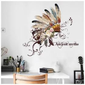 ウォールステッカー ウォールシール 壁シール 壁紙シール 壁面装飾 壁装飾 室内装飾 インディアン 民族衣装 羽根冠 羽冠 フェザー お花 フラワー