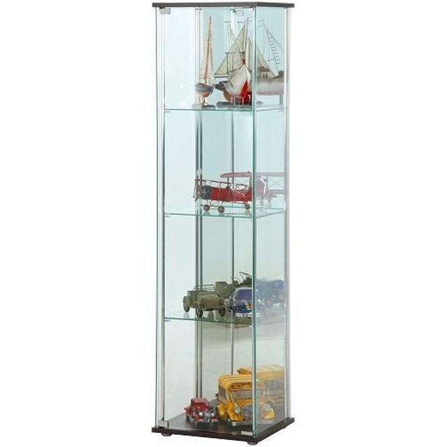 不二貿易 ガラスコレクションケース4段背面ミラー付き/96046