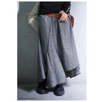 アシンメトリーにお洒落を紡ぐ。千鳥格子デザインスカート・再販。アシメ 変形 ##メール便不可