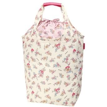 エコバッグ ショッピングバッグ マイメロディ 花柄 巾着式 コンパクト収納 ( トートバッグ 買い物バッグ 買い物袋 )