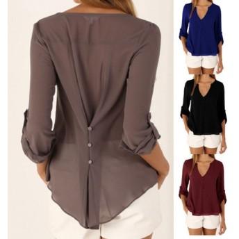 レディース カットソー シャツ 長袖 トップス ブラウス ロールアップシャツ 背中ボタン 薄手 Vネック アシンメトリー きれいめ 上品 セクシー 薄