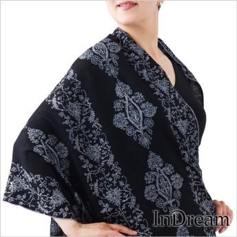 パシュミナ刺繍ショール [70cm巾] 黒(ブラック)01