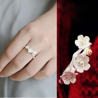 レディース 指輪 リング アクセサリー 梅の木 梅の花 花 フラワー モチーフ きれい 上品 おしゃれ 可愛い かわいい キュート ジュエリー ファッ