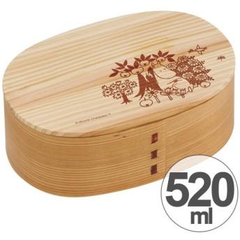 お弁当箱 わっぱ弁当 ムーミン 520ml 木製 曲げわっぱ 小判型 1段 キャラクター ( 和風 天然木 1段弁当箱 )