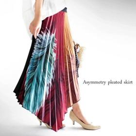 キーワードはイレギュラー。アシメフェザー柄プリーツスカート##・再販。メール便不可