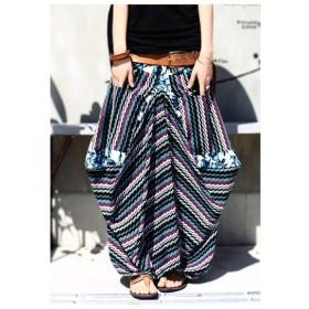 不思議なカタチと柄で魅せる。変形柄ロングスカート・再再販。##「G」メール便不可