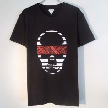 スカル ペイズリー柄 Tシャツ / Black×Red