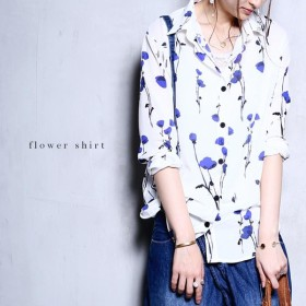 シャツ トップス レトロ 花柄 フラワー 花柄シンプルシャツ・メール便可