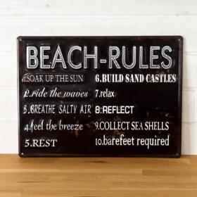 サインボード サインプレート 看板 ヴィンテージ風 BEACH RULES TINプレート 壁掛け 西海岸 ブルックリン 男前 ウィールデコレーション