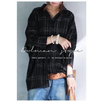 小粋なチェックでハズしに適任、ドルマンシャツ。ドルマンシャツ・再再販。綿混 メール便不可