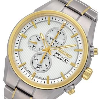 セイコー SEIKO クオーツ ソーラー クロノ メンズ 腕時計 SSC368P1 ホワイト