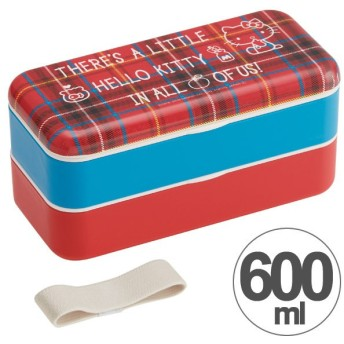 お弁当箱 シンプルランチボックス 2段 ハローキティ レッドタータン 600ml 長角型 箸付き ベルト付き ( 弁当箱 食洗機対応 電子レンジ対応 )
