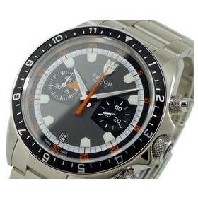 チュードル TUDOR 自動巻き クロノグラフ 腕時計 メンズ 70330 3列 グレー×黒