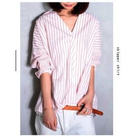 トップス ストライプ 切り替え ドレープ デザインシャツ・再再販。##「G」メール便不可