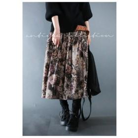 ふわふわっと風合いレトロ。花柄ミモレ丈スカート・再再販。ミモレ 花柄 スカート ##メール便不可