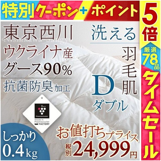全品P5倍★羽毛肌布団 ダブル 東京西川  夏 掛け布団 グースダウン90%