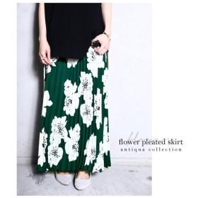 レトロ花柄が目を惹く主役級スカート。花柄プリーツスカート・##メール便不可