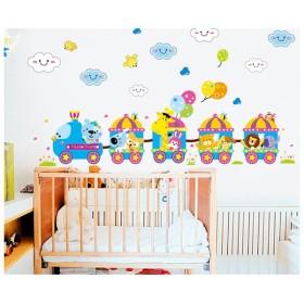 ウォールステッカー ウォールシール 壁シール 壁紙シール 壁面装飾 壁装飾 室内装飾 列車 電車 動物 アニマル カラフル インテリア DIY 子供部