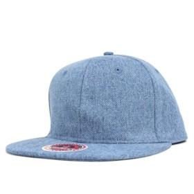 ニューハッタン スナップバックキャップ デニム フラット ビル ライトブルー 帽子