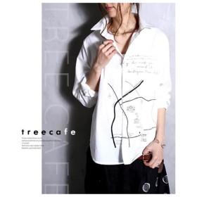 トップス シャツ 綿 綿100% 柄 コットン MAP柄シャツ・再再販。##メール便不可