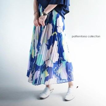 淡い、優しい色に惹かれる。花柄プリーツロングスカート・再再販。『あなどれない大人プリーツの世界。』メール便不可