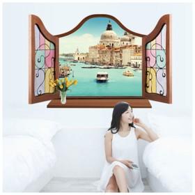 ウォールステッカー ウォールシール ヴェネチア ベネチア ヨーロッパ 水辺 海辺 風景画 窓辺 窓際 だまし絵 トリックアート 3D 立体的 壁シール