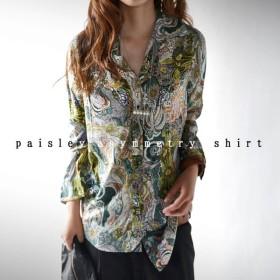 とろみシャツで、挑戦しやすい。花柄ペイズリーシャツ・再再販。メール便可